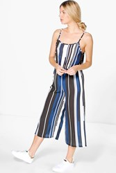 Boohoo Striped Culottes Jumpsuit Navy