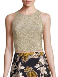 Alice Olivia Tru Embellished Racerback Cropped Top Gold