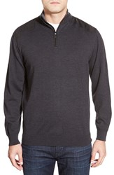 Men's Bugatchi Merino Wool Quarter Zip Sweater Charcoal