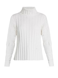 Esteban Cortazar Ribbed Knit Velvet Sweater White