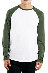 Topman Long Raglan Sleeve Baseball T Shirt Olive Multi