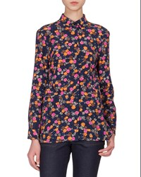 Victoria Beckham Button Front Jewel Print Blouse Navy Multi Women's Navy Multi