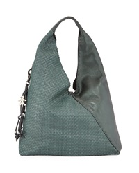 Canotta Woven Leather Hobo Bag Metallic Green Henry Beguelin