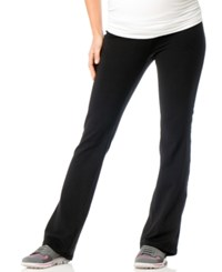 Motherhood Maternity Fold Over Belly Yoga Pants Black