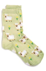 Women's Topshop 'Fluffy Easter Lambs' Ankle Socks Green Lime Multi
