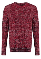 Superdry Black Blizzard Crew Jumper Red Navy Cream Mottled Red