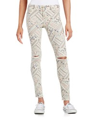 Design Lab Lord And Taylor Patterned Skinny Jeans Catalina Print