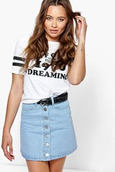 Boohoo Button Front A Line Denim Mini Skirt Blue