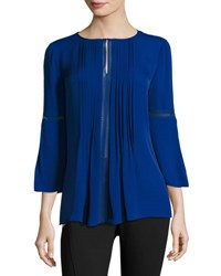 Elie Tahari Orion 3 4 Sleeve Pintucked Silk Blouse Bluette