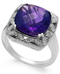 Macy's Amethyst 5 9 10 Ct. T.W. And Diamond Accent Ring In Sterling Silver