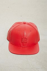 Forever 21 Men Me Faux Leather Snapback Red