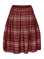 Endless Rose Embroidered Fit And Flare Skirt Burgundy