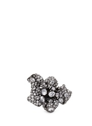 Anabela Chan 'Mini Bloomingdale' Diamond Pave 18K Black Gold Flower Ring White Metallic