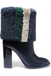 Tory Burch Bamford Striped Shearling And Leather Boots Storm Blue