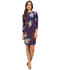 Donna Morgan Shift Dress W Banding Ink Currant Multi Women's Dress