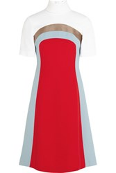 Jonathan Saunders Nico Color Block Crepe Dress Red