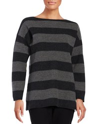 Eileen Fisher Petite Striped Boatneck Top Ash Charcoal