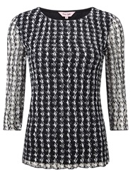 Phase Eight Dogtooth Lace Top Black Ivory