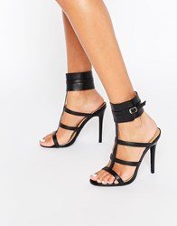 Public Desire Nika Ankle Cuff Heeled Sandals Black