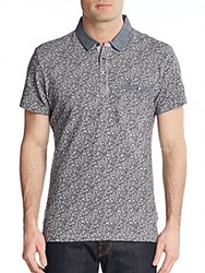 Saks Fifth Avenue Trim Fit Chambray Trimmed Paisley Cotton Polo Blue