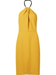 Andrea Marques Wrap Detail Midi Dress Yellow And Orange