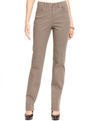 Styleandco. Style And Co. Straight Leg Tummy Control Jeans Colored Wash Warm Taupe