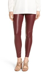 Hue Women's 'Leatherette' Faux Leather Leggings Sangria