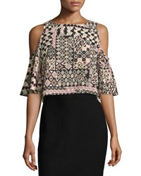 Romeo And Juliet Couture Geometric Print Cold Shoulder Blouse Pink Multi