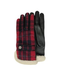 Dsquared Wool Leather And Shearling Men's Gloves W Cashmere Lining Red