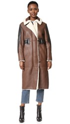 Acne Studios Fergus Shearling Coat Dark Brown