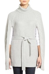 Halogen Belted Turtleneck Poncho Gray