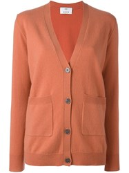 Allude V Neck Cardigan Yellow Orange