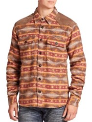 Prps Wool Blend Printed Shirt Khaki