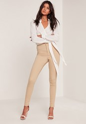 Missguided Nude High Waisted Skinny Jeans Sand