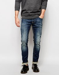 United Colors Of Benetton Vintage Wash Skinny Fit Jeans Midblue