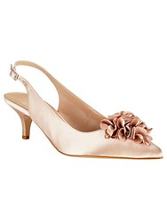 Phase Eight Alana Frill Satin Kitten Heel Shoes Neutral