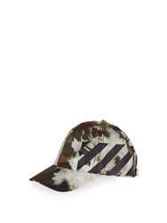 Off White Camouflage Print Baseball Cap