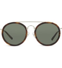 Dries Van Noten Dvn52 Tortoise Shell Round Sunglasses Tortoise And Green