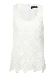 Jane Norman Embroidered Floral Top White
