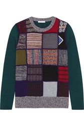 See By Chloe Patchwork Knitted Sweater Teal