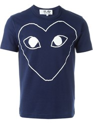Comme Des Gara Ons Play Heart Print T Shirt Blue