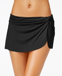 Anne Cole Solid Sarong Swim Skirt Women's Swimsuit Black