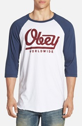 Obey 'Le Worldwide' Graphic Baseball T Shirt White Navy Red