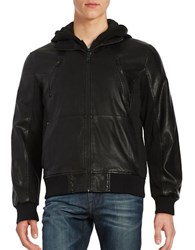 Guess Hooded Faux Leather Bomber Jacket Black