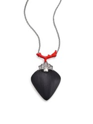 Alexis Bittar Coral Deco Lucite Enamel And Crystal Baguette Pendant Necklace Silver Black