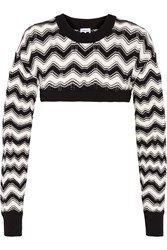 M Missoni Cropped Crochet Knit Sweater Black