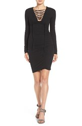 Pam And Gela Women's Ruched Lace Up Dress Black
