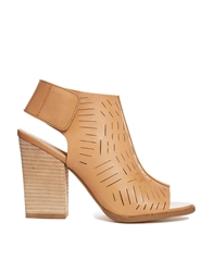 Report Signature Blade Laser Cut Heeled Ankle Boots Tan