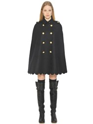 Red Valentino Scalloped Bonded Wool Cloth Cape