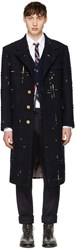 Thom Browne Navy Tartan Wide Shoulder Chesterfield Coat